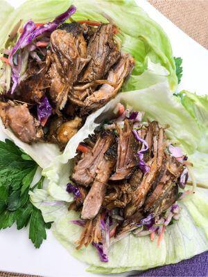 Slow Cooker Pulled Pork Lettuce Wraps