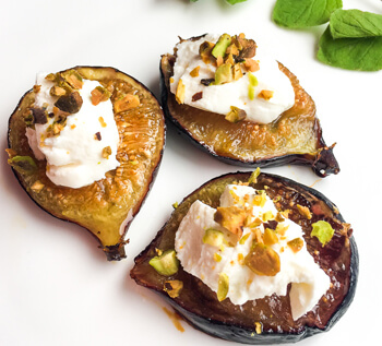 Honey Roasted Figs with Labneh & Pistachios