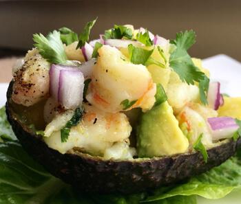 Pineapple & Shrimp Stuffed Avocados
